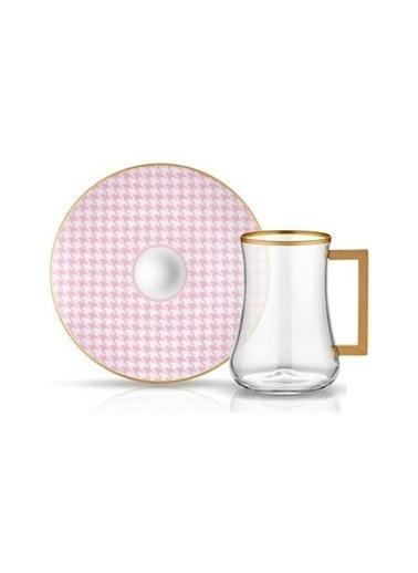 Koleksiyon Dervish Kulplu Çay Seti 6'lı Ekose Pembe Renkli